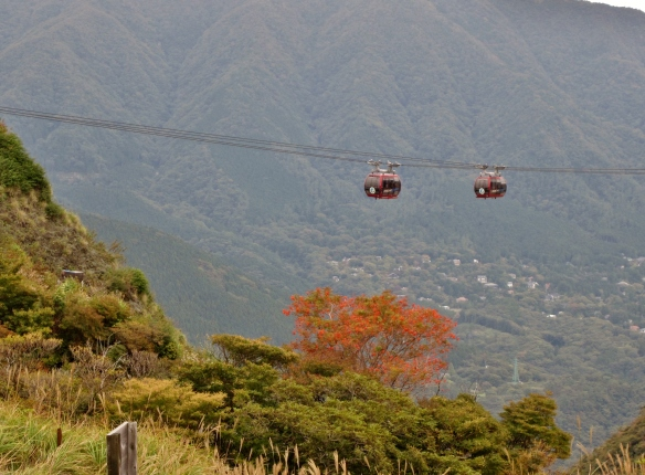 Hakone Ropeway going up the mountains.